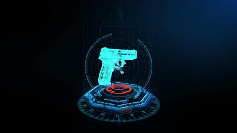3D Scene Handgun footage Animation