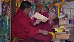 Monks read chants from scripts,Key,Spiti,India Footage