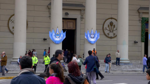 Entrance of Buenos Aires Cathedral in May square during Bicentennial independenc Footage