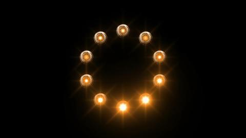 light loading wheel - 30fps spinning loop - orange lights shining on black backg Animation