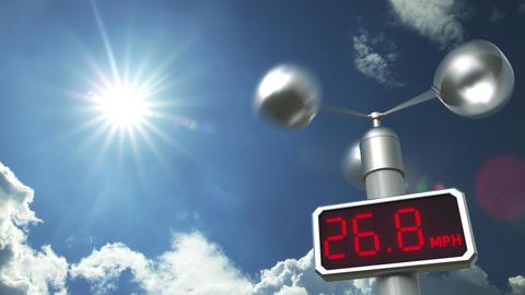 Digital anemometer displays maximum 99.9 mph wind speed. Hurricane forecast Footage