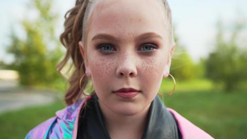 Pretty Caucasian Girl Front Portrait Close-up Live Action
