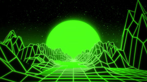 3D Green Neon Retro Synthwave VJ Loop Motion Background Animation
