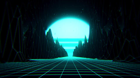 3D Blue Neon Retro Synthwave VJ Loop Motion Background Videos animados