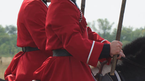 Cossacks in traditional uniform on horseback Footage