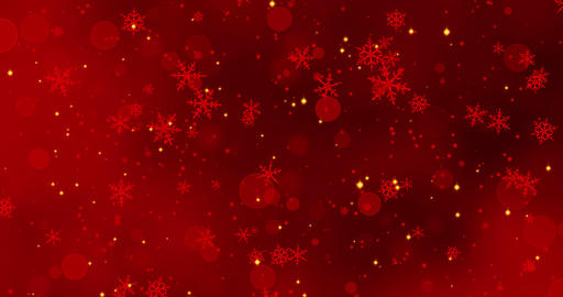 Red confetti, snowflakes and bokeh lights on the red Christmas background Footage