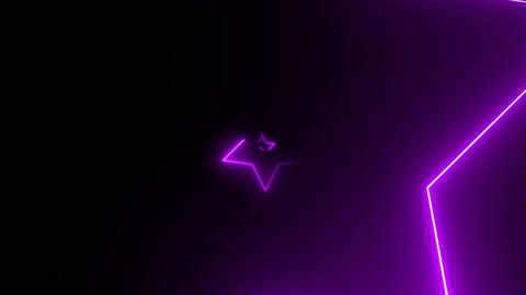 Abstract background with neon star shapes moving on camera with tunnel effect Footage