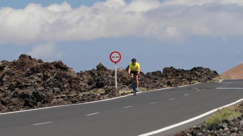 Cycling - Road biking cyclist man training on bike training for race Live Action
