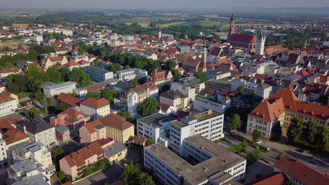 Aerial footage of a massive german city with modern architecture, 4k Live Action