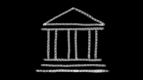bank icon designed with drawing style on a blackboard, animated footage ideal Live Action