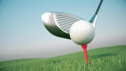 Golf club hits a golf ball in a slow motion Animation