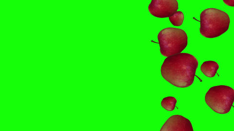 Red Apples falling down on greenbackground with copy space. Diet, health, wellbeing concept. 4K Animation