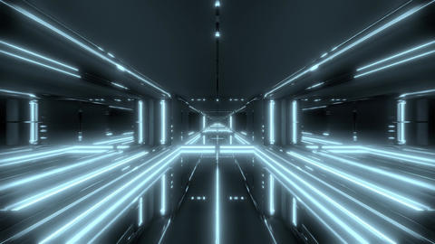 futuristic light stroke sci-fi tunnel corridor temple 3d illustration motion Animation