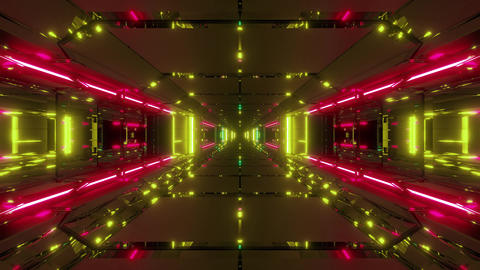futuristic sci-fi space ship tunnel corridor 3d illustration live wallpaper Animation