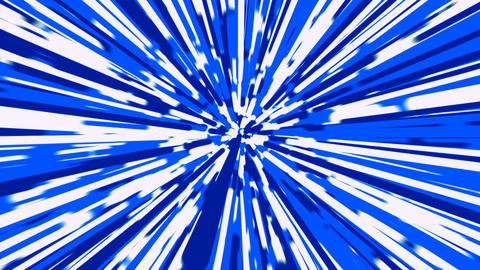 Stylized blue and white rays warp background loop Animation
