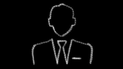 businessman icon with style drawing on chalkboard, animated footage ideal for Live Action