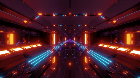 futuristic sci-fi space ship air hangar tunnel with glass windows 3d rendering Animation