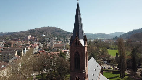 Aerial footage of an old church with gothic architecture in Germany, 4k Live Action