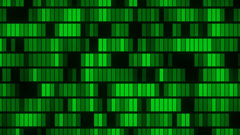 Horizontally flowing green electronic data blocks background loop CG動画