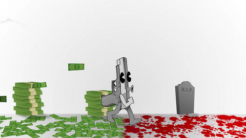 Animated Gun walking through Blood and Money Animation