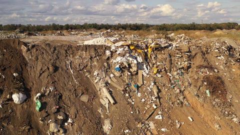 Aerial viewof a large garbage pile at sorting site. Garbage pile in trash dump Footage