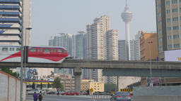 Monorail passes through city,Kuala Lumpur,Malaysia Footage