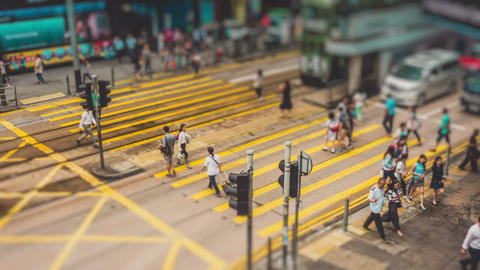 Traffic in Hong Kong Timelapse Tilt Shift Footage