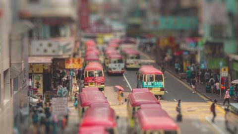 Traffic in Hong Kong Timelapse Tilt Shift Footage