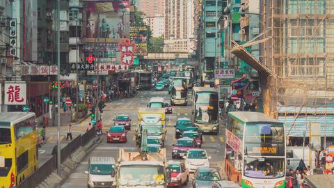 Traffic in Hong Kong Timelapse Zoom In Footage