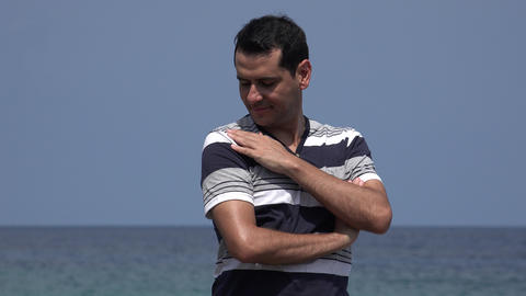 Confident Male Tourist On Summer Holiday Live Action
