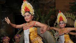 Traditional balinese legong dance by woman,Ubud,Bali,Indonesia Footage