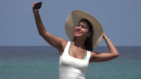 Woman Taking Selfie At Ocean Footage