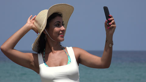 Happy Young Female Taking Selfy Live Action