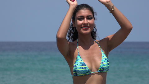Woman Wearing Bikini Dancing At Ocean Footage