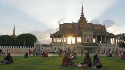 People sitting in Royal palace park in afternoon,Phnom Penh,Cambodia Footage