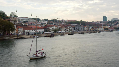 The city of Porto and Douro River in the evening - CITY OF PORTO, PORTUGAL - Footage