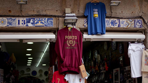 Souvenirs from Porto from a shop in the historic district - CITY OF PORTO Footage