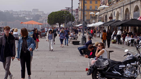 The banks of Douro River are a wonderful place to relax - CITY OF PORTO Footage