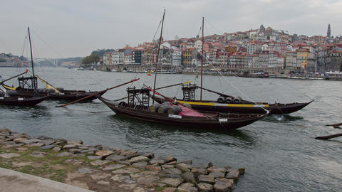 A popular place in Porto - the banks of Douro River - CITY OF PORTO, PORTUGAL - Footage