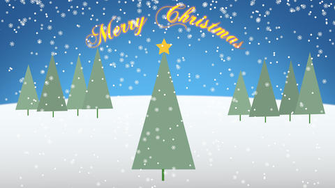 Merry Christmas greeting message flat style animated background with snowflakes. 4k Animation