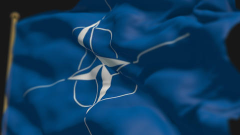 close-up of nato country flag, Ripples in the wind, slow motion Animation