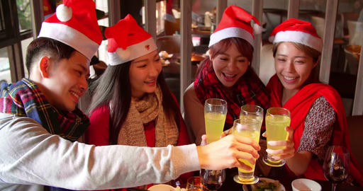 Happy friends having fun in hot pot restaurant Footage