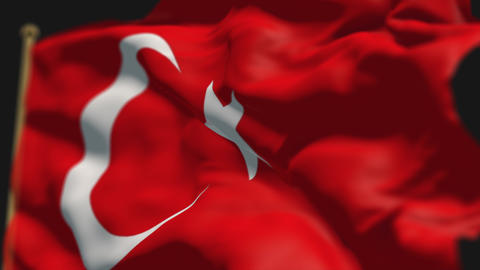 close-up of turkey country flag, Ripples in the wind, slow motion Animation