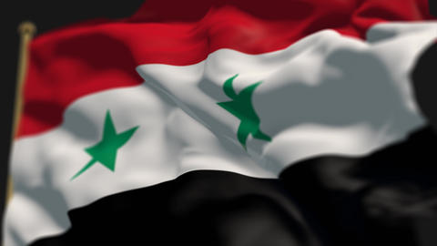 close-up of syria country flag, Ripples in the wind, slow motion Animation