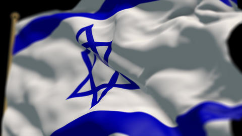 close-up of israel country flag, Ripples in the wind, slow motion Animation