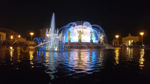 Renewed Fountain of Friendship at night, Live Action