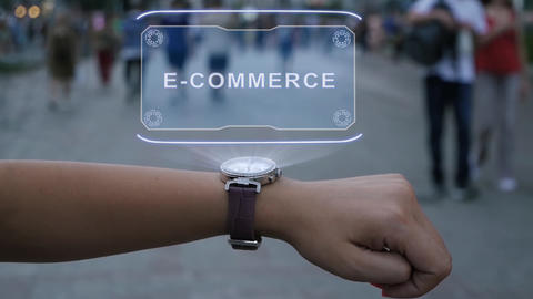 Female hand with hologram E-commerce Live Action
