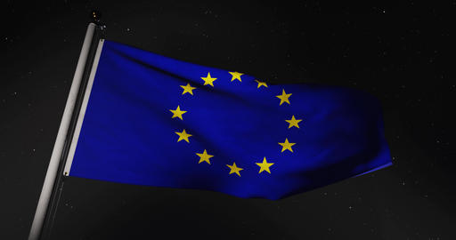 Eu European Union Flag Flying 30fps 4k Video Of Banner Waving Animation
