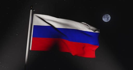 Tricolor Of Russian Federation Flag Flying In Moscow - Slow Motion Video 30fps 4k Animation