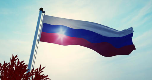 Tricolor Of Russian Federation Flag Flying In Moscow - Video 30fps 4k Animation